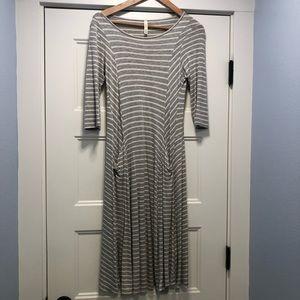 Gray & white striped dress